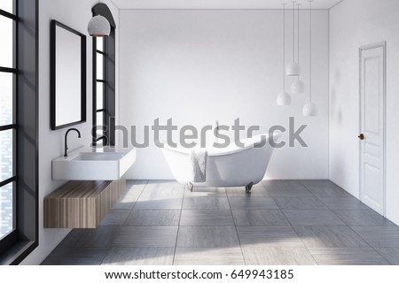 interior of a modern bathroom with white walls large windows a sink with a