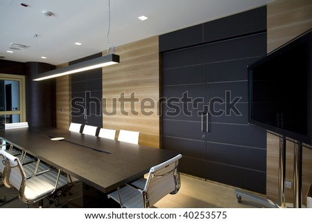 interior of a modern boardroom - stock photo