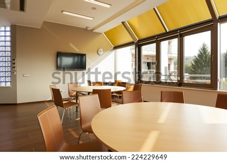Interior of a modern bright conference room  - stock photo