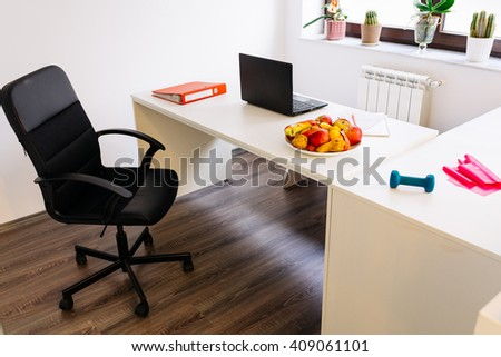 Interior of a modern clean office in a gym