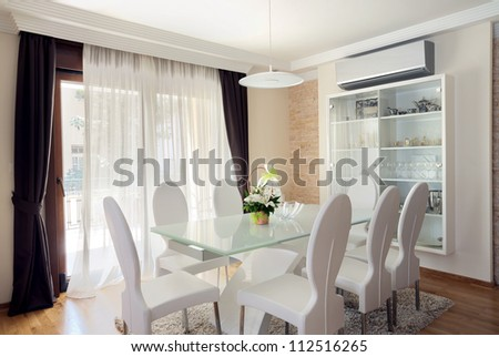 Interior of a modern dining room. - stock photo