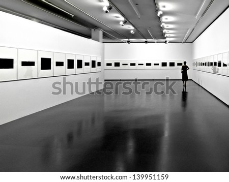 Interior of a modern exhibition hall. Exhibition.Panorama. - stock photo