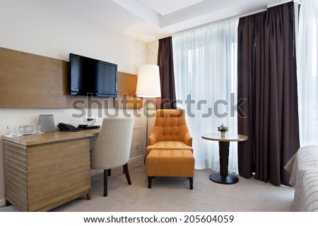 Interior of a modern hotel room