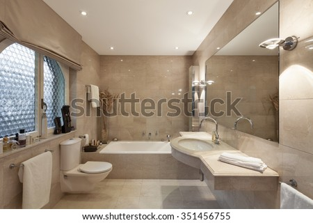 Interior of a modern house, bathroom, classic design - stock photo