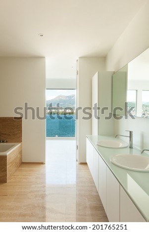Interior of a modern house, bathroom view - stock photo