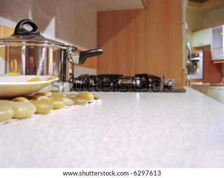 Interior of a modern house - kitchen - stock photo