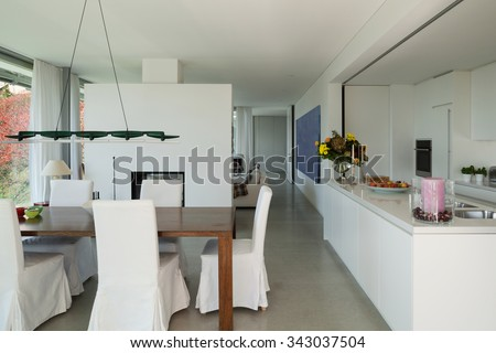 modern mansion dining room. Interior Of A Modern House, Nice Dining Room And Kitchen Mansion