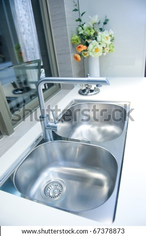 Interior of a modern kitchen with stanless steel double sink. - stock photo