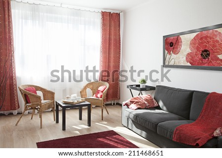 Interior of a modern living room in sunlight  - stock photo