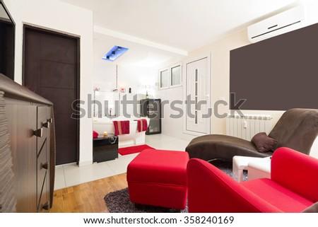 Modern Bedroom Red Floor White Wall Stock Illustration 62113882