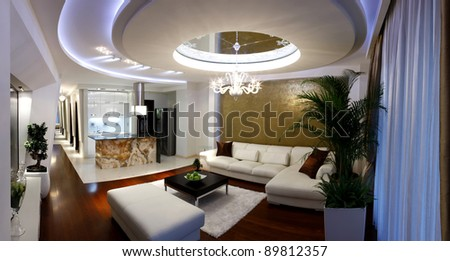 Interior of a modern living room (panorama) - stock photo