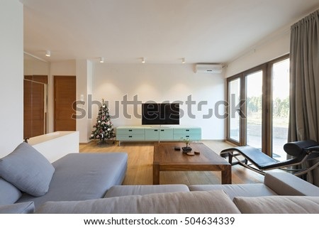 new interior designs for living room. Interior of a modern living room with decorated Christmas  New year tree Design Living Room Stock Photo 133777247 Shutterstock
