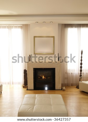 interior of a modern living room with fireplace - stock photo