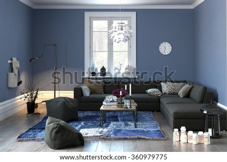 Interior of a modern lounge or living room in grey and blue decor with a comfortable couch and pouffe and single central window. 3d rendering. - stock photo