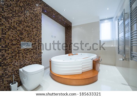 Interior of a modern luxury bathroom with jacuzzi bathtub - stock photo