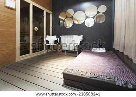 Interior of a modern luxury bedroom  - stock photo