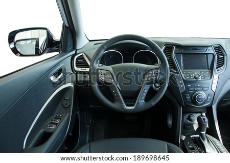 Interior of a modern new car. Isolated. - stock photo