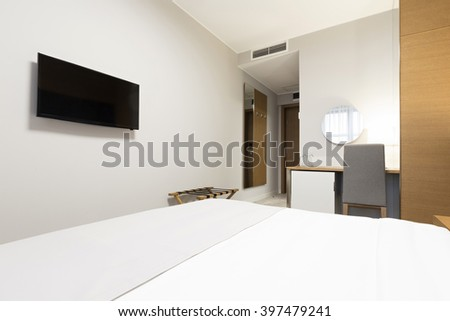Interior of a modern new hotel room - stock photo