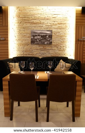 Interior of a modern restaurant - stock photo
