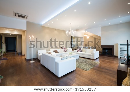 Interior of a modern spacious living room with fireplace  - stock photo