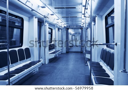 Interior of a modern subway train - stock photo