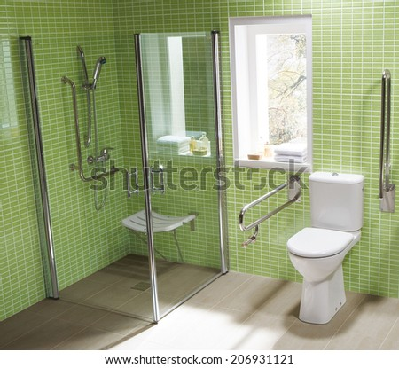 Interior of a modern toilet room - stock photo
