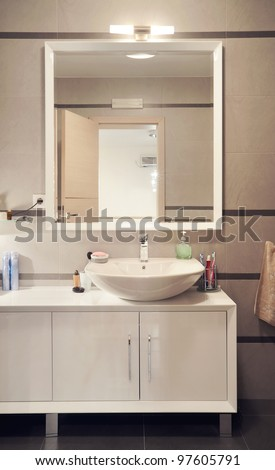Interior of a modern toilet room. - stock photo