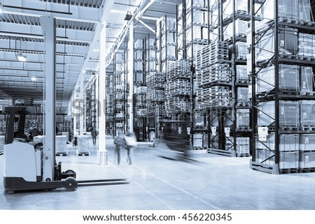 Interior of a modern warehouse in the blue toned