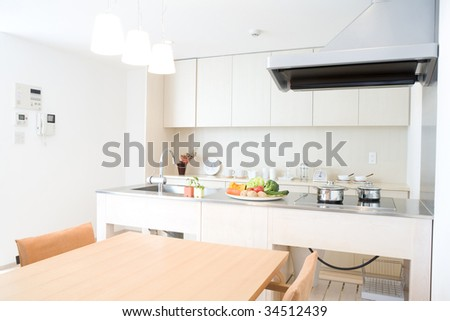 Interior of a modern white kitchen