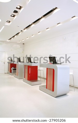 interior of a modern workplace - stock photo