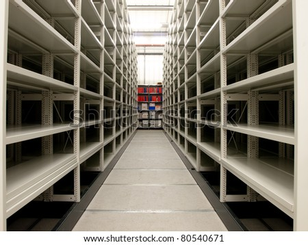 Interior of a new and modern compact storehouse - stock photo