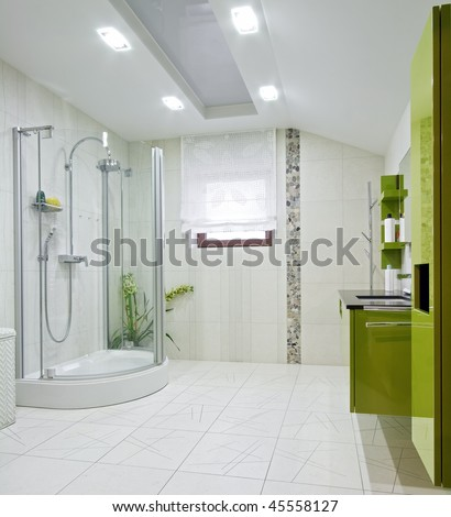 Interior of a new domestic room with green furniture - stock photo