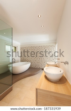 Interior of a new empty house, bathroom,