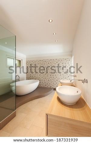 Interior of a new empty house, bathroom,  - stock photo