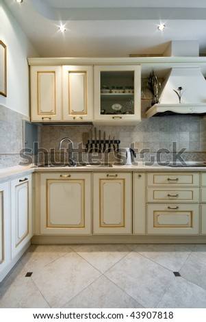 Interior of a new kitchen - stock photo