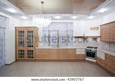 Interior of a new luxury kitchen - stock photo
