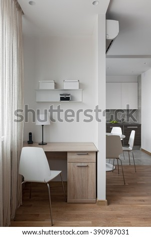 Interior of a new modern apartment in scandinavian style with workplace - stock photo