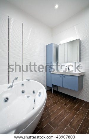 Interior of a new modern bathroom