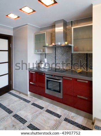Interior of a new modern kitchen - stock photo