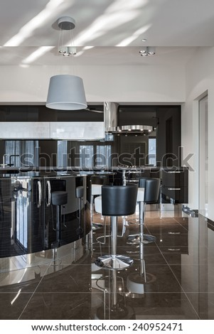 Interior of a new modern luxury kitchen in daylight