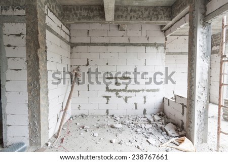 Interior of a new room under construction