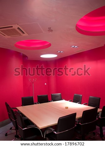 interior of a pink board room