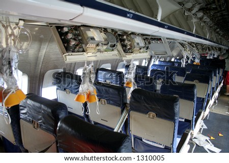 Interior of a plane that was in a accident - stock photo