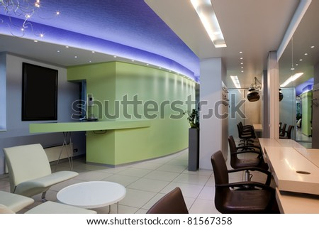 Interior of a professional hair studio - stock photo