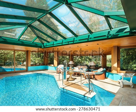 Interior residential house large indoor pool stock photo for Large skylights