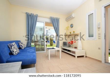 Interior of a resort vila in greece - stock photo