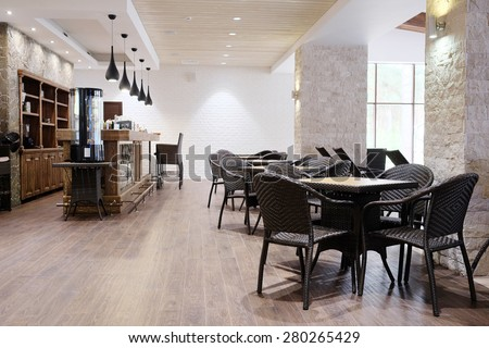 Interior of a restaurant - stock photo