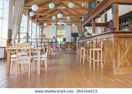 Interior of a restaurant - stock photo