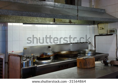 Restaurant Kitchen Counter interior restaurant kitchen chinese restaurant stock photo