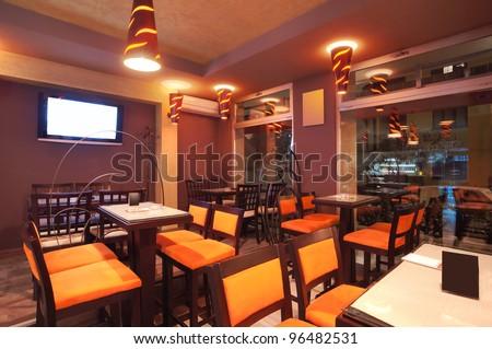 Pizzeria restaurant stock photos images pictures shutterstock for Restaurant interior color schemes